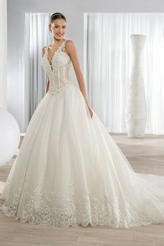 Wedding Dress Lace, Charming Tulle V-neck Neckline Ball Gown Wedding Dresses with Beaded Lace Appliques Unique and inexpensive wedding gowns that wow! Shop our wedding dresses online and in-store for top styles and trendy bridal looks. Affordable Wedding Dresses, 2016 Wedding Dresses, Wedding Dresses Photos, Elegant Wedding Dress, Perfect Wedding Dress, Bridal Dresses, Wedding Gowns, Wedding Gown Gallery, Dress Attire