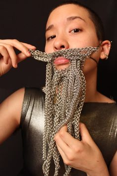 This is how my beard grows...lol! Chainmaille!