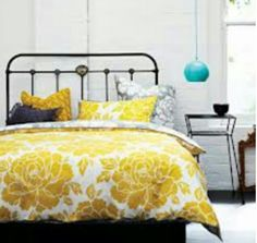 Bedroom - love the colours mustard yellow & black