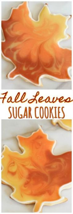 Sugar cookie cutouts recipe, decorated with the cookie flooding technique. How to do cookie flooding for these fall leaves sugar cookies!