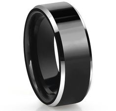 Black Tungsten Carbide Mens Brushed Center 8MM Wedding Band Ring All Size M23