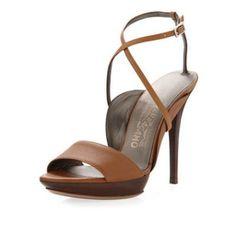 Salvatore Ferragamo Gilina Crisscross Ankle-Wrap Sandal, Caramello