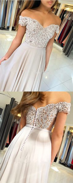Silver Gray Lace Appliques V-neck Off The Shoulder Long Chiffon Bridesmaid Dresses For Bridal Party
