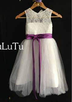 15a2ad7969c Ivory lace tulle purple sash Key hole back flower girl by BuLuTu