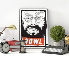 Poster Allen Ginsberg, beatnik, poet, writer