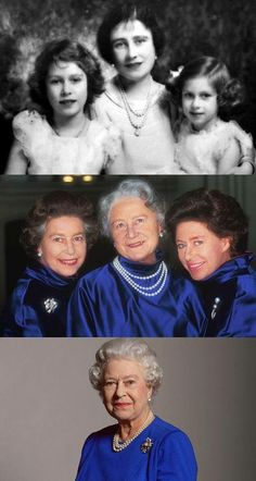The Queen Mother with Princess Elizabeth and Margret Rose ... Below Her Majesty The Queen