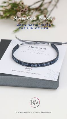Many customers buy the couples bracelet to proclaim their love in Morse Code. Some like to give their children encouraging words. Some have even proposed marriage in Morse Code! And many customers, during these difficult times particularly, have turned to our bracelets to help them through loss. #morsecodebracelets #morsecodejewelry #beadedbracelets Morse Code Bracelet, Bracelet Set, Bracelet Making, Presents For Your Boyfriend, Gifts For Him, Secret Code, Meaningful Gifts, Words Of Encouragement, Natural Gemstones
