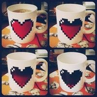 Heat sensitive heart mug. Reminds me of the hearts in Zelda!