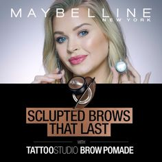 Get the look of full, sculpted brows with Maybelline's NEW Tattoo Studio Brow Pomade! It's highly-pigmented, waterproof and last for 24 hours. With 8 shades and an easy-to-use formula, you'll get fool-proof brows in just 3 steps! Share your best brow look using the Tattoo Studio Brow Pomade for a chance to be featured on our channels! Beauty Make Up, Beauty Care, Hair Makeup, Eye Makeup, Makeup Tips, Christmas Stuff, Beauty Nails, Hair Beauty, Brow Pomade