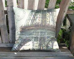 La Tour Eiffel Pillow  French Postcard Pillow  Paris by artanlei