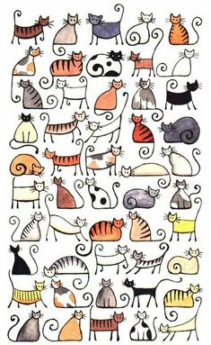 Doodle Ideas To try In Your Bullet Journal/ Decorate your Bujo with these doodles. From cute cactus doodles, to sea life, to cute little food. Dress up your Bullet Journal! Zentangle, Cat Art Print, Animal Art Prints, Print Print, Doodle Drawings, Cat Doodle, Drawings Of Cats, Crazy Cats, Art Projects