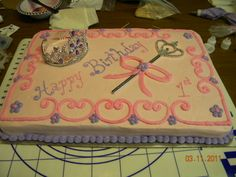 Princess 1st Birthday - Pretty simple princess first birthday sheet cake with tiara and sceptor.