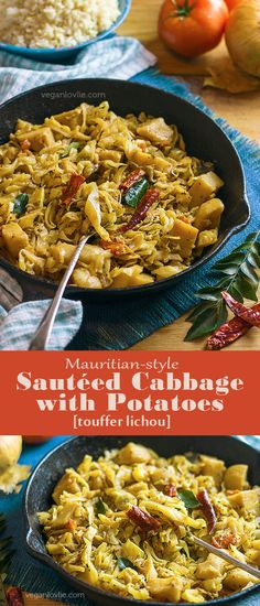 Mauritian-style Sautéed Cabbage with Potatoes [touffer lichou]   Video - https://youtu.be/D7xSJKE_zIQ   veganlovlie.com