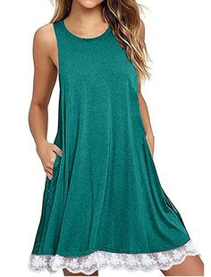 Ulanda Women's Long Sleeve Pockets Loose T-Shirt Dress Casual Swing Floral Lace Dress Plus Size (XL, Sleeveless-Green) Short Beach Dresses, Lace Summer Dresses, Lace Dresses, Casual Dresses, Short Sleeve Dresses, Dress Beach, Mini Dresses, Dress Summer, Party Dresses