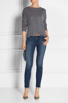 Frame Denim (Le Boyfriend cashmere sweater; Le Skinny de Jeanne mid-rise jeans). Gianvito Rossi (phython pumps). Comme des garçons (metallic leather pouch).