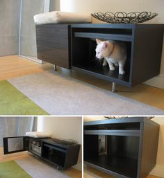 IKEA hack for cat litter box: http://www.moderncat.net/wp-content/uploads/2009/05/ikeabox1.jpg