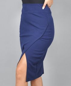 f1c29a7fbf Navy Wool-Blend Midi Skirt - Plus Too   Products   Midi skirt ...