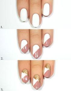 nails art facile, idée manucure géométrique