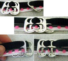 How to Make a Soda Tab Bracelet: Tab Threading - Add Bottom Tab, Thread Top Tab Soda Tab Crafts, Can Tab Crafts, Fun Crafts, Soda Tab Bracelet, Pop Can Tabs, Soda Can Art, Soda Tabs, Diy Fashion Projects, Pop Cans