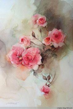泰国美女画家 Phatcharaphan Chanthep水彩花卉 - 陈年老酒 - -