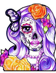 Catrina de la Mariposa Morada / Purple Butterfly by Cecilia Valdez