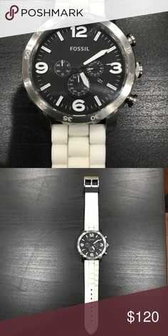 Men's Fossil Chronograph Watch In working condition - lightly worn - quartz - white fossil silicone watch band included Fossil Accessories Watches
