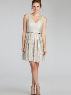 2015 Fall V-neck Silver Lace Donna Morgan Bridesmaid Dress 2110