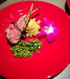 Lamb Chops, Mashed Plantains, Pistachio Gremolata