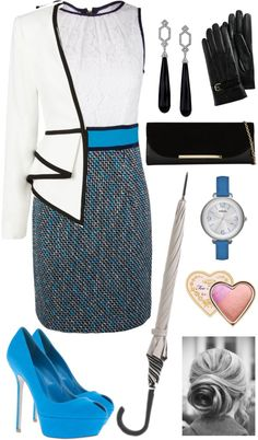 """""""SPRING RACING FASHION - Black, white and blue"""" by melissa-barnes-1 on Polyvore"""