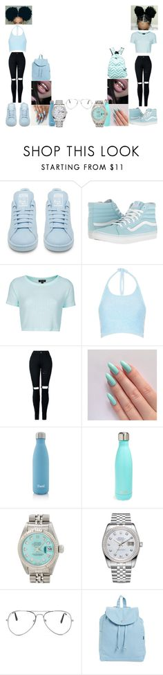 """""""Bluey"""" by jordan23-624 ❤ liked on Polyvore featuring adidas, Vans, Topshop, Motel, S'well, Rolex, Nasty Gal and BAGGU"""