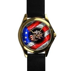 Popular United States Marine Corps (USMC) Unisex Silver-tone Round Leather Metal Watch -- Unbelievable  item right here! : Travel Gadgets