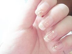 French manicure with silver glitter ♡