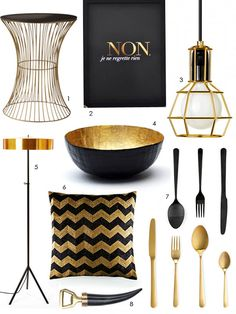 more black and gold from Apartment Therapy. I love the poster, and the bowl is an easy diy