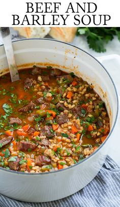 Beef Barley Soup - rich and hearty and perfectly cozy! Made with tender chunks of beef roast, nutritious whole grain barley, fresh veggies and a deliciously seasoned broth. A soup that& sure to warm the soul on chilly days! Easy Soup Recipes, Beef Recipes, Healthy Recipes, Recipes With Beef Chunks, Recipes With Beef Roast, Beef Broth Soup Recipes, Soup With Beef Broth, Game Recipes, Gourmet