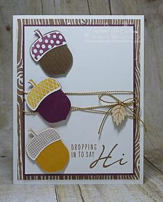 Acorny Thank You Trio Card - www.dreamingaboutrubberstamps.om - A trio of acorns made with the Acorny Thank You stamps, Acorn Builder Punch and Into the Woods paper and wood elements all from Stampin' Up! are the perfect way to celebrate fall