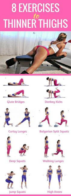 8 best exercises to thinner and sexier thighs. Thinner Thighs Workout, Thigh Thinner, Thinner Legs, Toning Legs, Toned Legs Workout, Thigh Workouts, Thigh Thinning Workouts, Thigh Exercises For Women, Good Leg Exercises