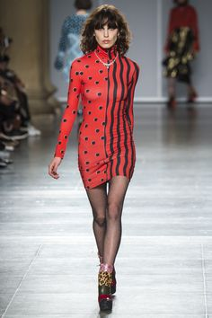 House of Holland | Fall 2016 Ready-to-Wear | 08 Red/black dotted/striped long sleeve mini dress