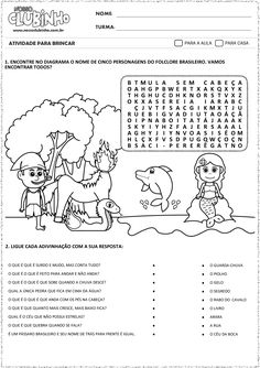 atividades-alfabetizacao-dia-do-folclore Daily Home Workout, How To Plan, Education, Comics, 230, Daisy, Legends And Myths, Tall Tales Activities, Preschool Worksheets