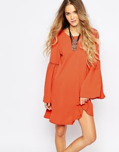 Glamorous A-Line Dress with Bell Sleeve   ASOS