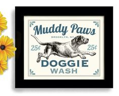 Laundry Room Decor Dog Art Dog Wash Art Sign Wall Art Print