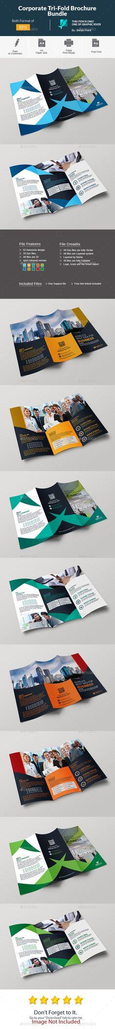 Corporate Tri-Fold Brochure Bundle - Template Vector EPS, AI Illustrator