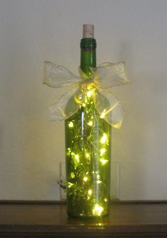 WINE BOTTLE LIGHT with clear lights by ELZcreations on Etsy