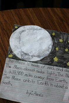 Moon: Each child needs a paper plate and a straw. You need to mix a little water, black paint, karo syrup and hand soap in a dish. Have the kids blow BIG bubbles with the straw, and push the plate on it.