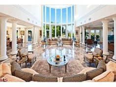 In case you were wondering, this is what 30 ft ceilings look like in a home. Charmion Ln, Encino, CA