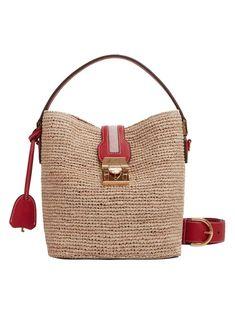 Mark Cross Murphy Raffia Bucket Bag In Red Leather Tassel, Leather Crossbody, Shoulder Strap, Shoulder Bags, Hidden Key, Mark Cross, Calf Leather, Luxury Branding, Bucket Bag