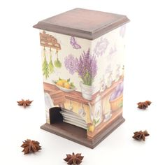 Rustic tea box kitchen decor tea box decoupage box by PastimeArt