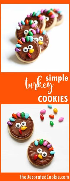 EASY and simple turkey cookies for Thanksgiving