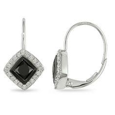 1 ct.t.w. Black and White Diamond Earrings in 10k WG, GHI, I2-I3 Amour. $465.00