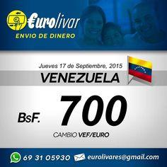 Este es el tipo de cambio de hoy Jueves 17 de Septiembre de envíos de Dinero para Venezuela. Envíale la remesa a tus familiares de una forma fácil rápida cómoda y segura. No se cobra comisión. #VenezolanosenMadrid #VenezolanosenEspana