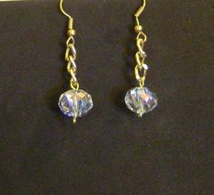 earrings with  8x10mm  AB crystals on gold colored by tapcraft, $10.00